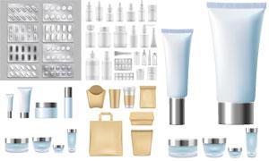 胶囊药物与空白包装护肤品矢量素材