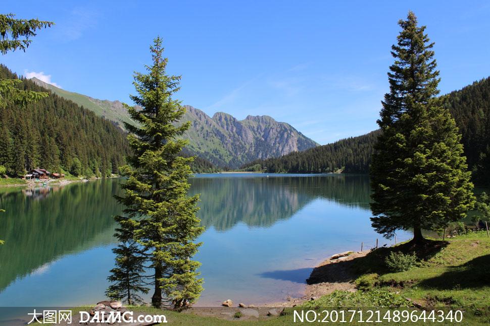 大图首页 高清图片 自然风景 > 素材信息          山脚下的湖畔树木