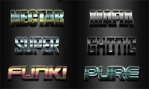 金属质感的3D艺术字设计PS样式V23