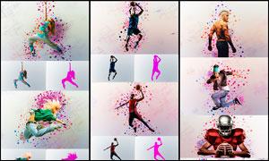中文版人像素描和喷溅背景PS动作