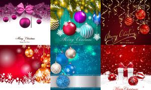 丝带蝴蝶结与挂球等圣诞节矢量素材