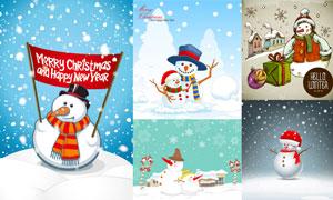 拟人化卡通雪人等圣诞主题矢量素材