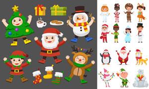 可爱卡通风格的圣诞老人等矢量素材