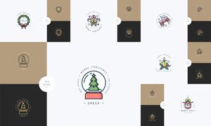 挂球与手套等圣诞主题图标矢量素材