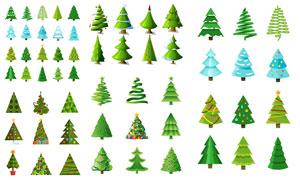 以圣诞树为元素的圣诞主题矢量素材