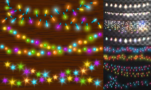 节日氛围营造缤纷彩灯元素矢量素材