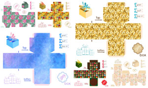 不同禮物盒展開效果圖設計矢量素材