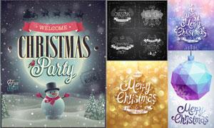 圣诞挂球与雪人等圣诞主题矢量素材