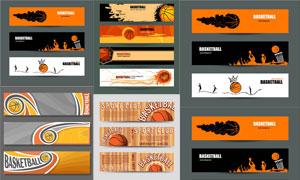 篮球运动人物剪影BANNER矢量素材