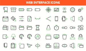 多格式线条化风格网页图标矢量素材