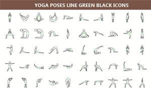 黑绿线条瑜伽动作创意图标矢量素材