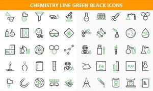 线条化风格的化学主题图标矢量素材