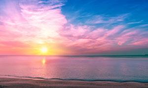蓝天白云与辽阔的大海摄影高清图片