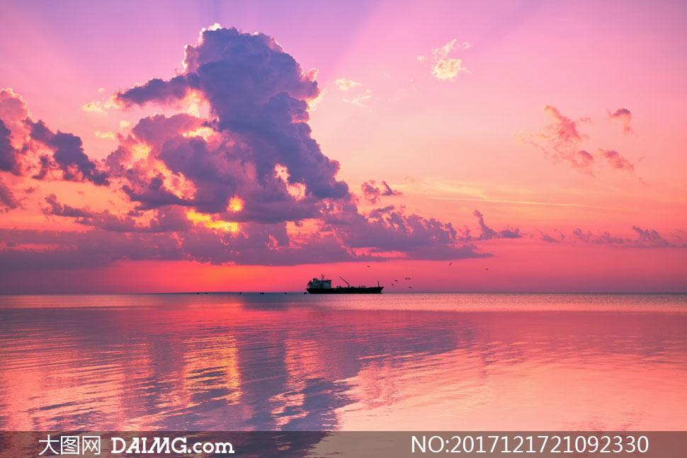 黄昏瑰丽霞光云彩风景摄影高清图片