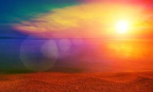 浩瀚大海风光瑰丽光晕效果高清图片