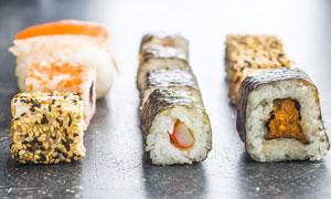 多种口味日本料理寿司摄影高清图片