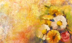 颓废斑驳效果花朵水彩绘画高清美高梅
