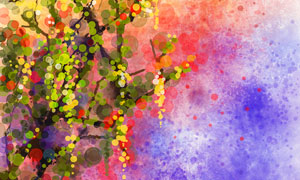 水彩墨点元素树木绘画创意高清美高梅