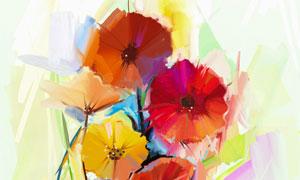 鲜艳绽放的花卉植物水彩画高清美高梅