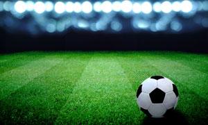 在绿茵场上的足球特写摄影高清图片