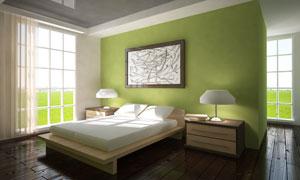 卧室双人床与床头柜等家具高清图片