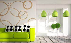 客厅房间清新绿色装饰设计高清图片