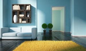 房间湖蓝色墙壁与地毯摆设高清图片
