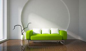 干枝装饰与绿色的高脚沙发高清图片