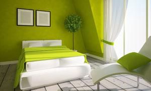 卧室房间双人床与休闲躺椅高清图片