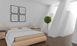 卧室双人床与空白的装饰画高清图片