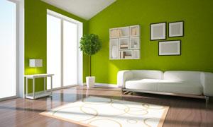 沙发与墙上的置物架装饰画高清图片