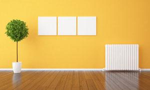 绿植油汀与墙上空白无框画高清图片