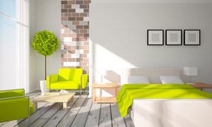 沙发茶几与卧室双人床摆设高清图片