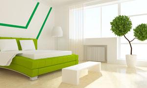 卧室双人床绿植与床尾凳等高清图片