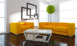房间茶几与橙色的沙发摄影高清图片