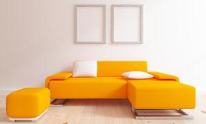 橙色沙发与空白的画框设计高清图片