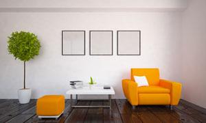 绿植茶几与橙色的沙发设计高清图片