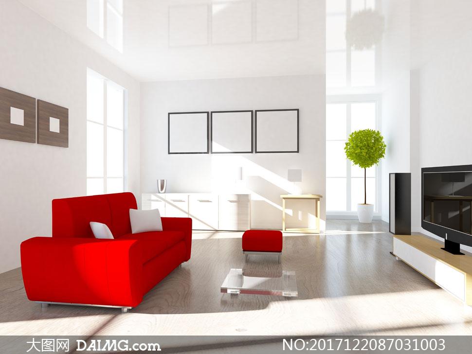别墅客厅沙发绿植与电视机高清图片