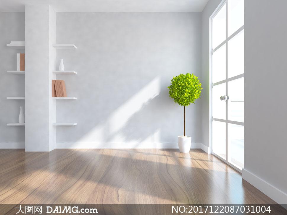 置物架与窗户边的绿色植物高清图片