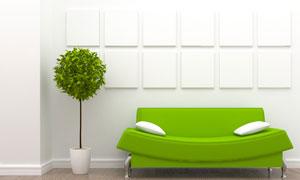 沙发抱枕与绿色的植物创意高清图片