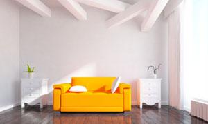 客厅抽屉柜与沙发枕头创意高清图片