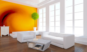 沙发茶几与客厅背景墙创意高清图片
