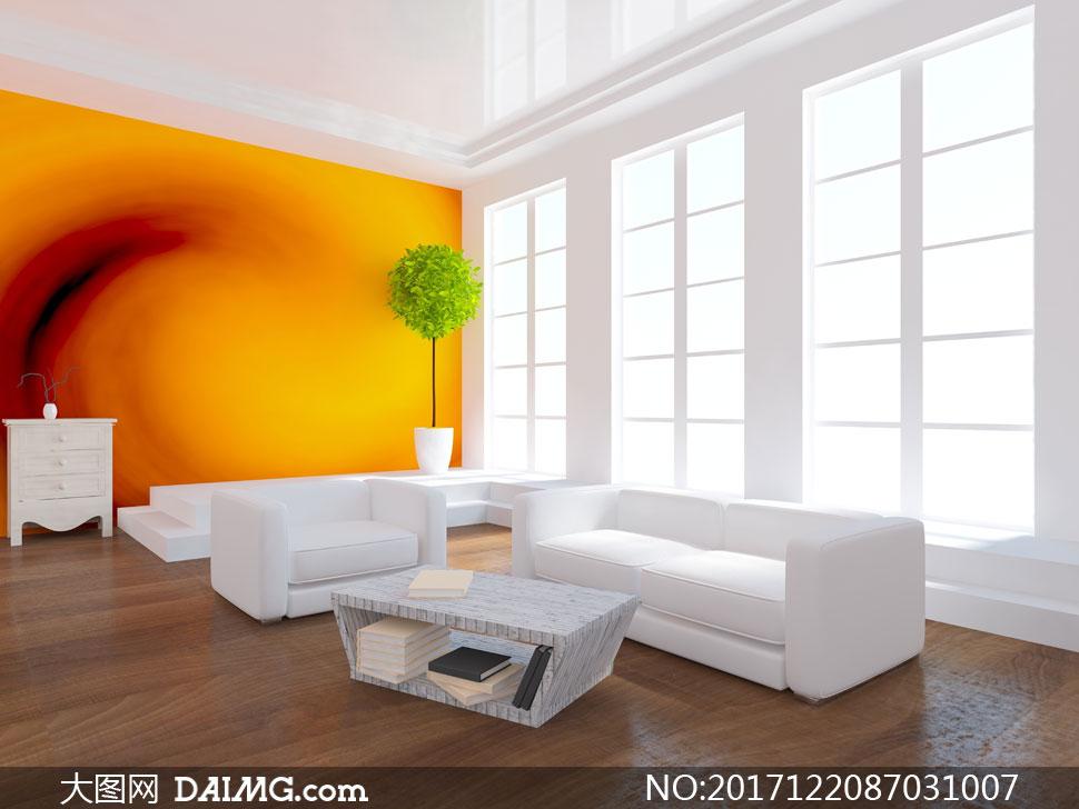 沙发茶几与客厅背景墙创意高清图片 - 大图网设计素材