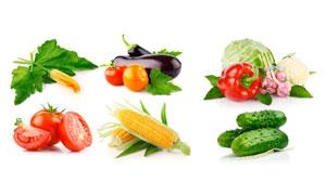 黄瓜玉米与番茄等蔬菜摄影高清图片