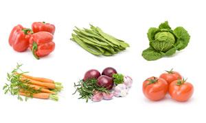 西红柿胡萝卜与洋葱等蔬菜高清图片