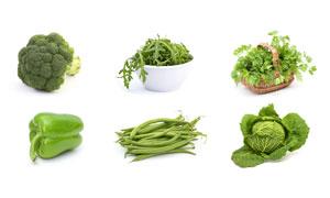 西蓝花四季豆与辣椒等蔬菜高清图片