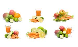 芒果柠檬与苹果等水果摄影高清图片