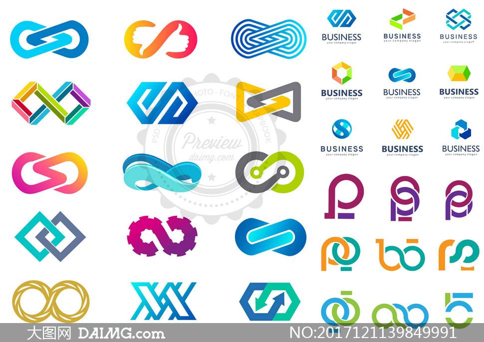 炫彩风格抽象图形标志创意矢量素材