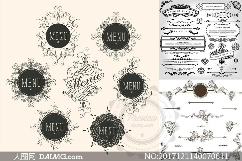黑白风格欧式复古风格花纹矢量素材