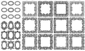 花纹装饰的圆形与方形边框矢量素材